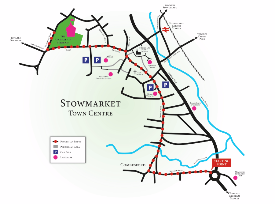 Stowmarket Carnival Procession Route Map